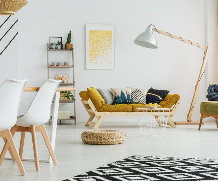 Black and white carpet on a modern living room floor