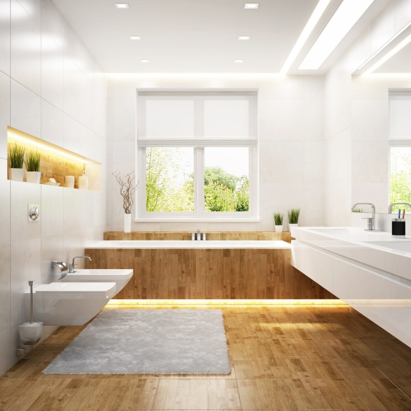 Modern white bathroom.